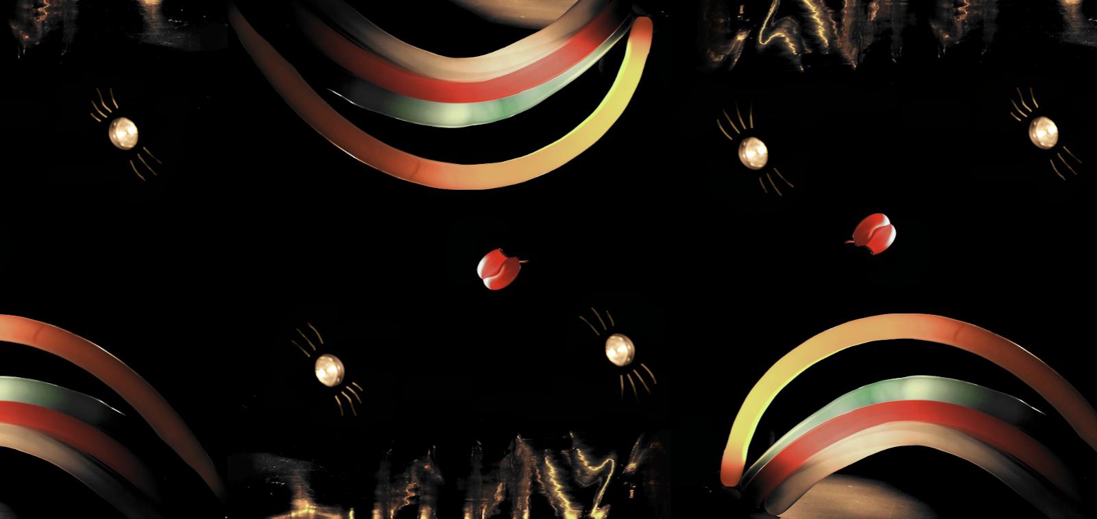 Funny-esityksen kuva, jossa värikkäitä ilmapalloja mustalla taustalla